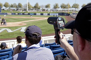 scout using radar gun